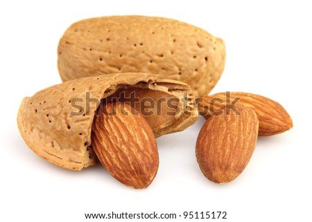 Dried almonds in closeup - stock photo