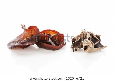 Dried and cooked jew's ear isolated on white background. Culinary asian food ingredient.