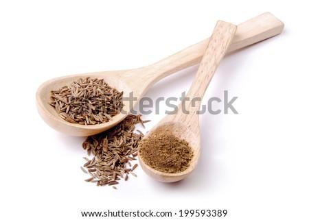 Dried and ground cumin - stock photo