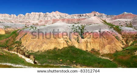 Dried and parched ground of Badlands National Park in South Dakota - stock photo
