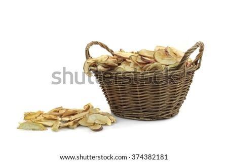 Dried Apples Slice In Wicker Basket Isolated On White Background,  Ingredients For Turkish Apple Tea, Close Up