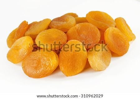 dried apricots isolated on a white background - stock photo
