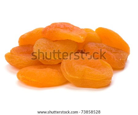 dried apricots isolated on white background - stock photo