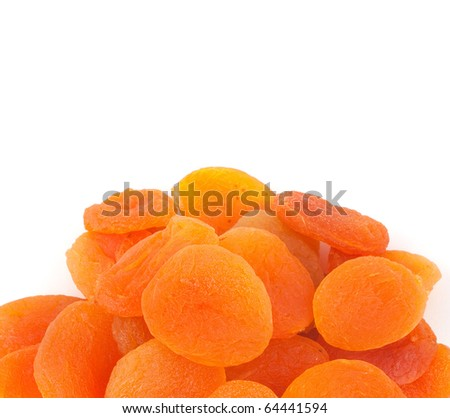 Dried apricots on a white background, Isolated - stock photo