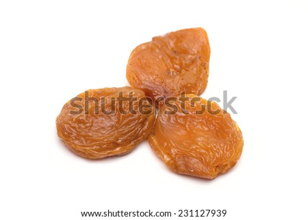 dried apricots on the white background