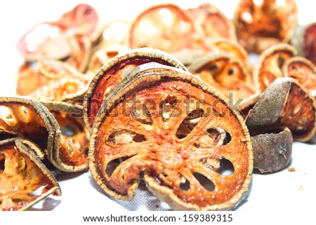 Dried bale fruit, thai herb Isolated on white