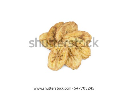 Dried banana slices isolated on white background