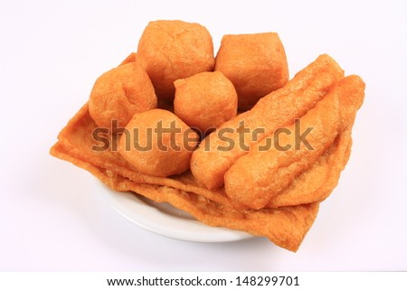 Dried bean curd on the plate  - stock photo