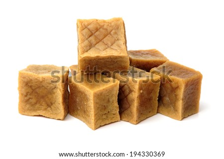 Dried bean curd on white background