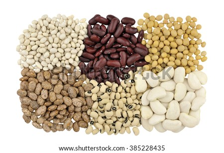 Dried beans, clockwise from top left, Haricot or Navy beans, Red Kidney beans also known as Red Giant, Soya beans, Butter beans, Black Eyed beans also called Black Eyed peas and Pinto beans. - stock photo