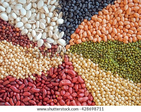 Dried beans, kidney beans, black beans, green bean, soy, and peanut