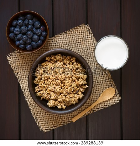 Dried berry and oatmeal breakfast cereal in rustic bowl with glass of milk and fresh blueberries, photographed overhead on dark wood with natural light  - stock photo