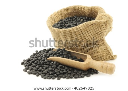 dried black beans in a burlap bag with a wooden scoop on a white background - stock photo