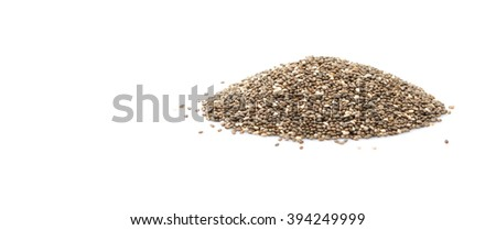 Dried black chia seed over white background