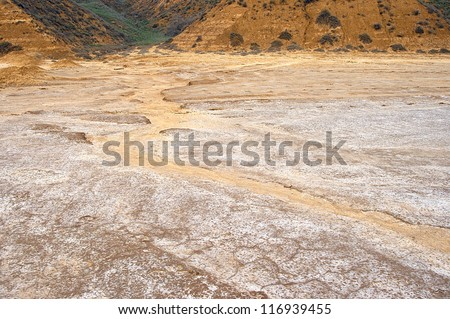Dried bottom of salty lake Baskunchak, Russia - stock photo