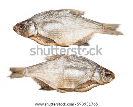 Dried bream on a white background.