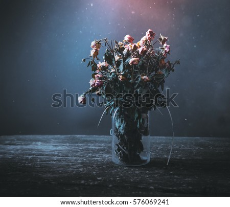 Dried Bunch Of Roses In A Vase On Wooden Table Black And Blue