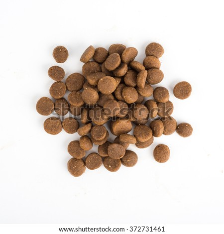 Dried cat or dog food isolated on white background top view - stock photo