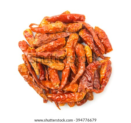 Dried cayenne pepper over white background - stock photo