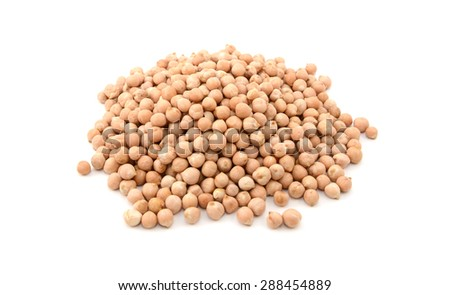 Dried chick peas, isolated on a white background - stock photo