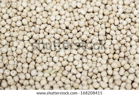 Dried chickpeas, detail of raw vegetable at a market, a product of healthy lifestyle, diet and health care - stock photo