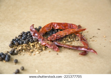 dried chili with seed and pepper - stock photo