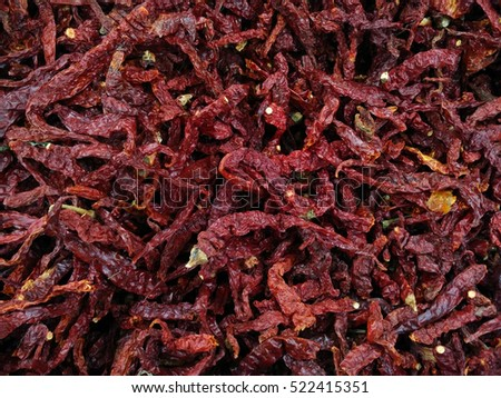 Dried chilies. Background and texture
