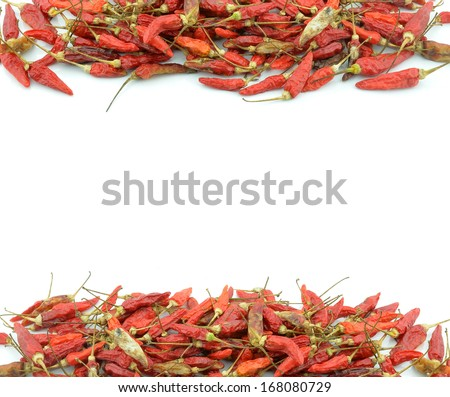 Dried chilli or chilli pepper isolated on white background cutout - stock photo
