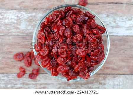 dried cranberries in a bowl.  - stock photo