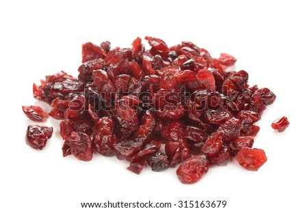 Dried cranberries isolated on a white background - stock photo