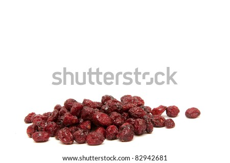 Dried cranberries on a white background. - stock photo