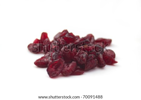 Dried cranberry fruits isolated on white background - stock photo