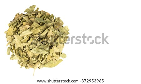 Dried curry leaves over white background