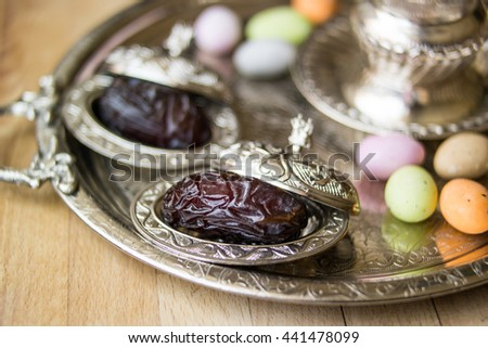 Dried date fruits in a silver tray