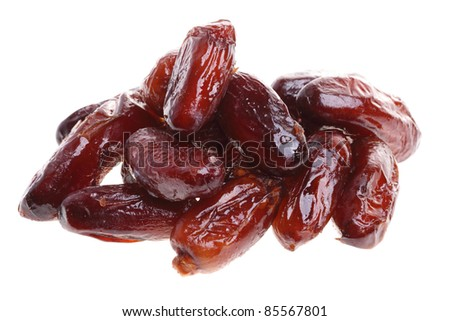 Dried date fruits isolated on white background - stock photo