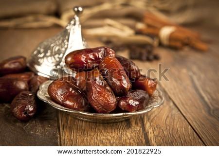 Dried date palm fruits or kurma, ramadan ( ramazan ) food  - stock photo