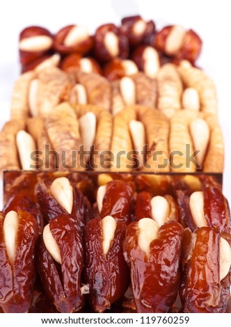dried dates and figs, white almond stuffed - stock photo
