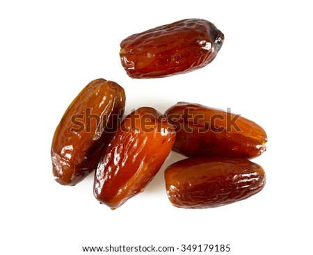 dried dates isolated on white - stock photo