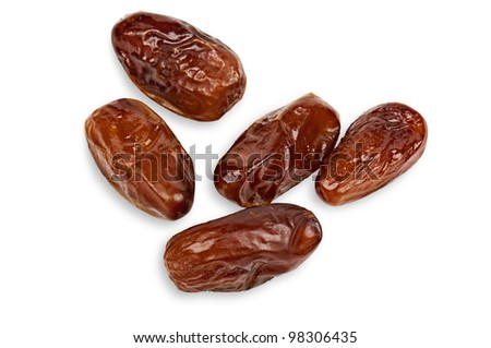Dried dates isolated on white background with light shadow. - stock photo