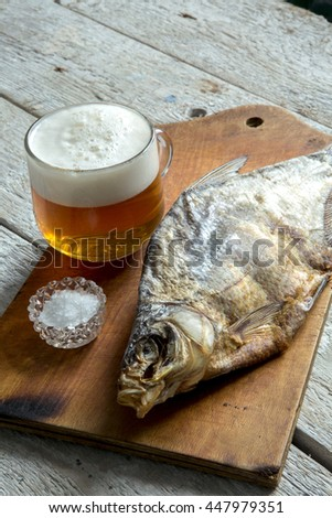 Dried dried fish, beer and bread