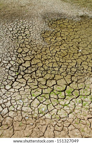 Dried earth because of rain dose not fall and the land lacked of water for agriculture  - stock photo
