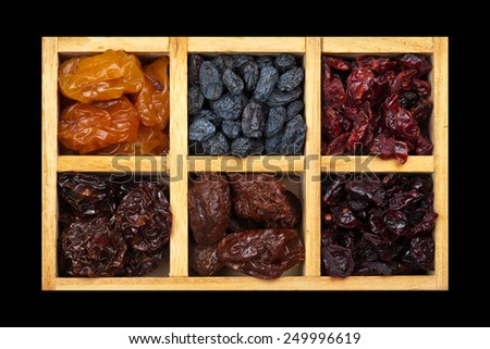 Dried Exotic Mix Berry and Fruits. Isolated. Selective focus. - stock photo