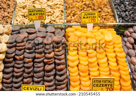 Dried figs and dried apricots on Egyptian bazaar of Istanbul - stock photo