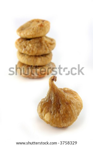dried figs isolated, soft focus