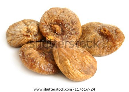 Dried figs on a white background