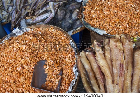 Dried fish and shrimps on a market in Pnom Penh, Cambodia - stock photo