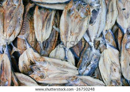 Dried fish background - stock photo