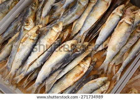 Dried Fish, Chinese Market. A display of dried fish in a chinatown market. - stock photo