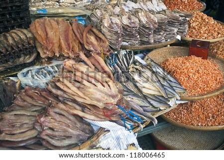 Dried fish on a market in Pnom Penh, Cambodia - stock photo
