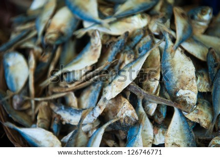 Dried fish, seafood product at market from India - stock photo